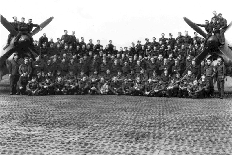 An old black and white image of the pilots of the Hawker Typhoon