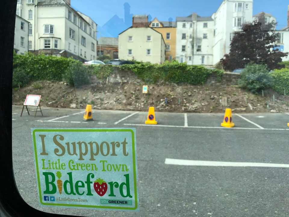 """I support the little green town of Bideford"" on a sticker appearing on a sticker"