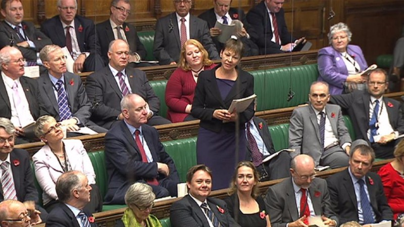 The Green Party's Caroline Lucas speaking in Parliament