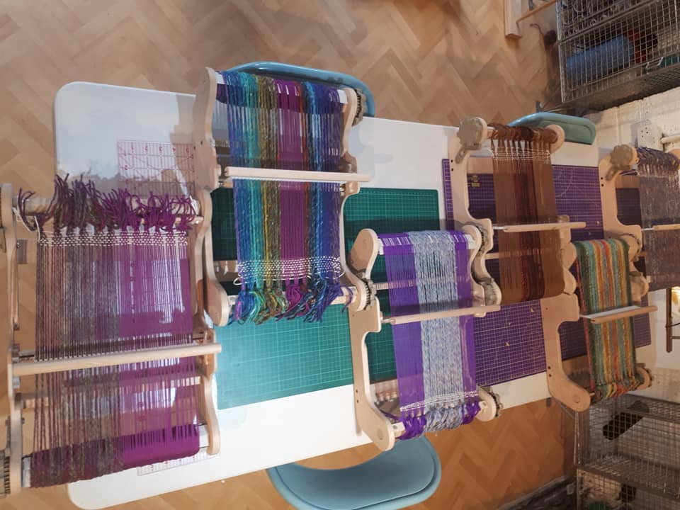 Weaving thread on a loom, ready to be a therapeutic exercise for survivors of trauma and loss