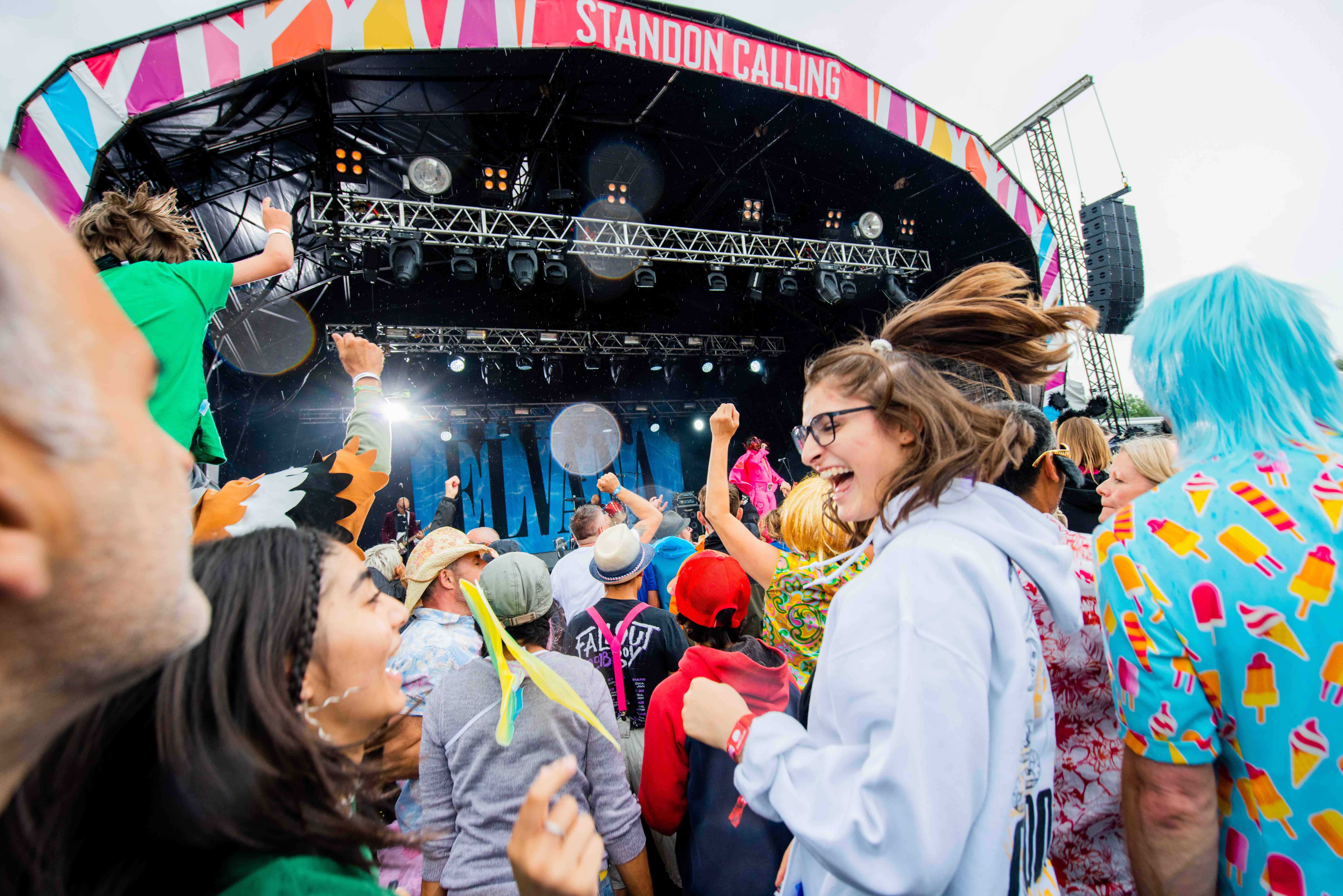 People dancing in front of the stage at Standon Calling Festival