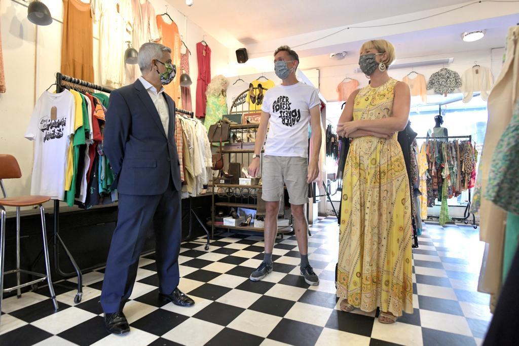 The Mayor of London, Sadiq Khan, visiting Paper Dress Vintage