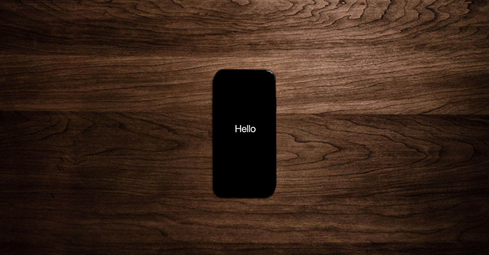 The word hello on a phone