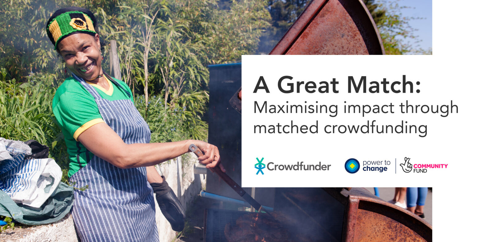 A woman cooking with text that reads 'A Great Match – Maximising impact through matched crowdfunding'