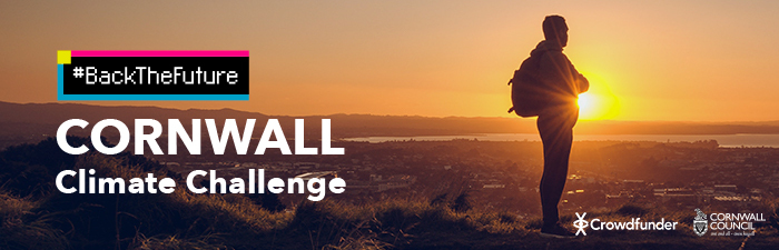 #BackTheFuture: Cornwall Climate Challenge wording featured on an image with a person standing in front of a sunset.